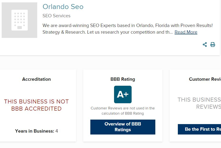 Orlando SEO Group BBB A+ Rating - Is BBB Accredited Worth it?